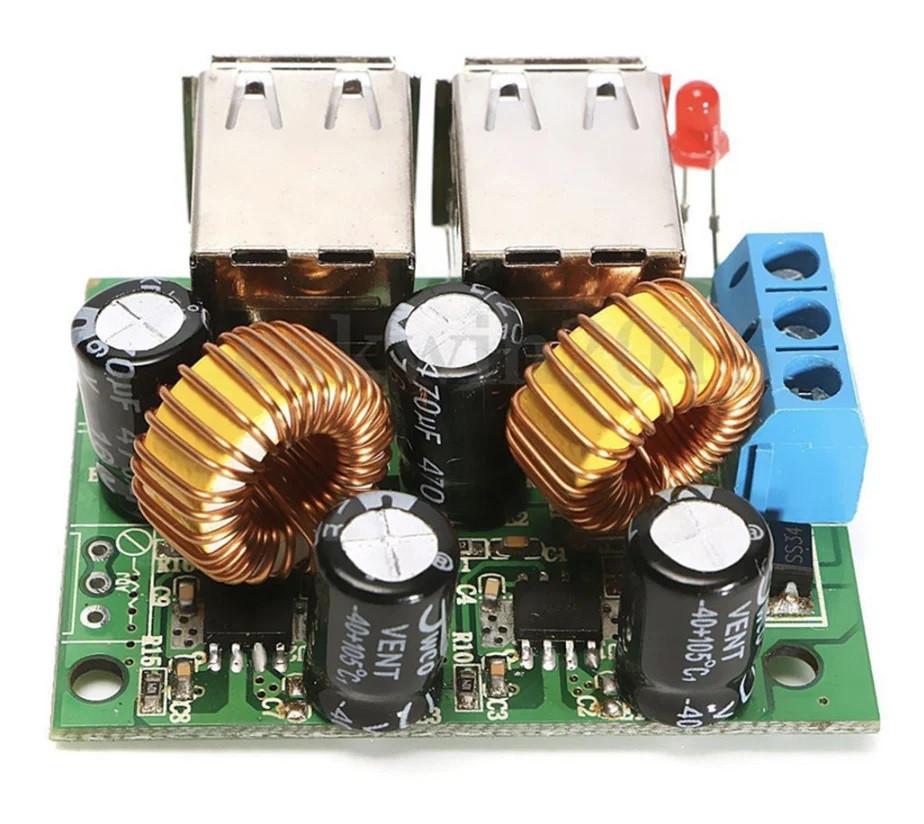 Понижуючий перетворювач DC-DC на 4 USB порту. 9-40В на 5В 5А