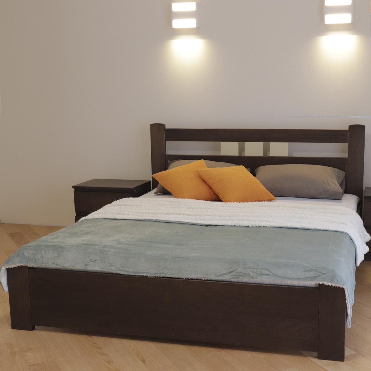 Кровать деревянная двуспальная Геракл с низким изножьем (массив бука)