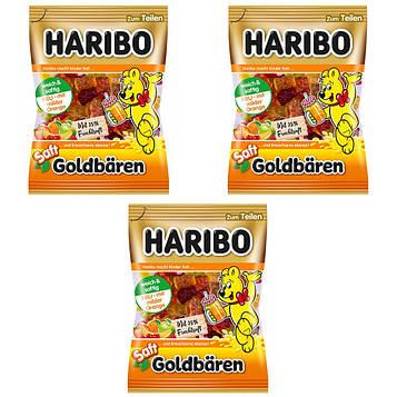 Конфеты жевательные HARIBO Saft Goldbären золотые медведи с соком 3 * 175 грамм (525 грамм)