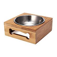 Миска для собак и кошек (дерево, металл)