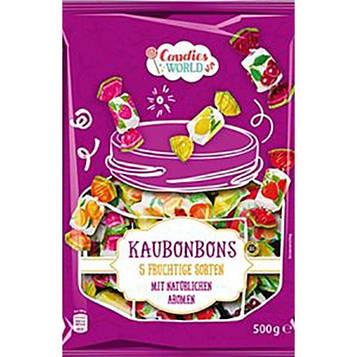 Конфеты жевательные Candies World «Kaubonbons» 500 грамм, 5 фруктовых сортов с натуральным вкусом.