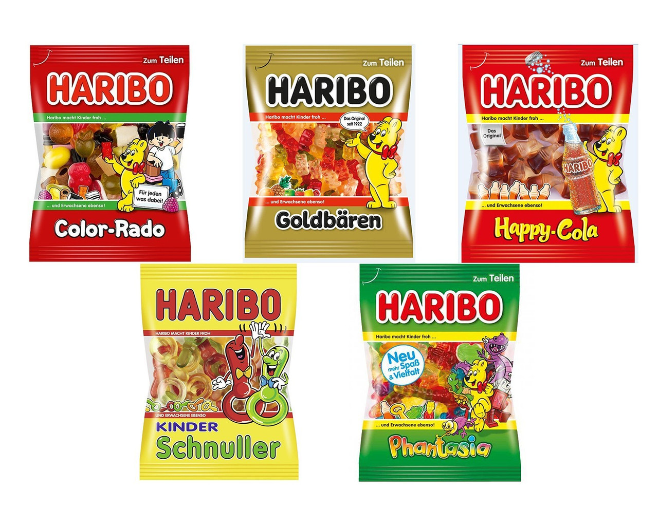 Цукерки жувальні мікс HARIBO Phantasia , Goldbären, Color-Rado, Happy-Cola, Kinder Schnuller 5 шт. * 200 грам