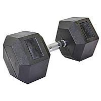 Гантель цельная шестигранная гексагональная (1шт) SC-8013-32,5 32,5кг (сталь хромированная, резина, вес