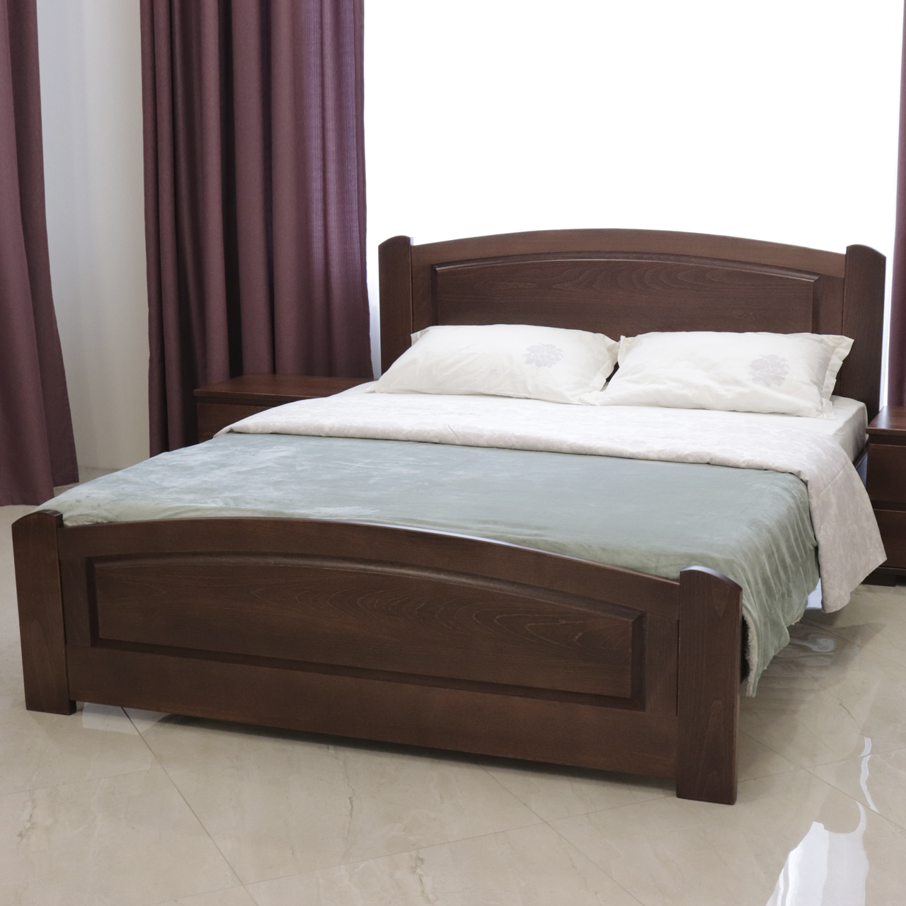 Ліжко дерев'яне двоспальне Едель (масив бука)