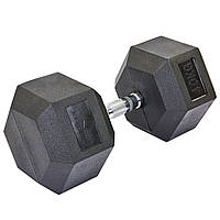 Гантель цельная шестигранная гексагональная (1шт) 40кг (сталь хромированная, резина, вес 40кг)