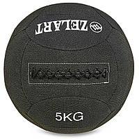 Мяч для кроссфита набивной в кевларовой оболочке 5кг Zelart WALL BALL (кевлар, наполнитель-метал. гранулы, d-35см, черный)