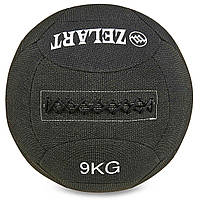 Мяч для кроссфита набивной в кевларовой оболочке 9кг Zelart WALL BALL (кевлар, наполнитель-метал. гранулы, d-35см, черный)