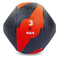 Мяч медицинский медбол с двумя рукоятками Record Medicine Ball 3кг (резина, d-23см, черный-красный)