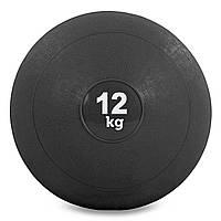 Мяч набивной слэмбол для кроссфита Record SLAM BALL 12кг (резина, минеральный наполнитель, d-23см,черный)