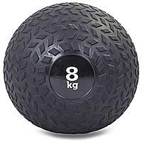 Мяч набивной слэмбол для кроссфита рифленый Record SLAM BALL 8кг (PVC, минеральный наполнитель, d-23см,