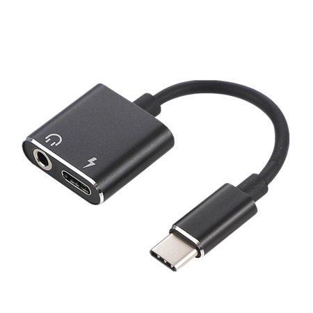 Перехідник 2 в 1 USB Type C 3.5 mm Jack для зарядки і прослуховування музики JBC042 Black (5397)