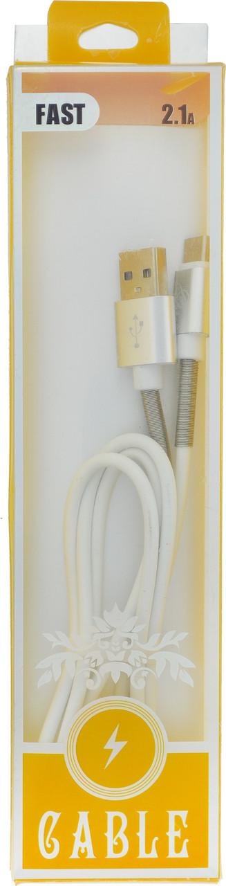 Кабель Soft Touch USB - Type C 1 м 2A с пружиной (15205) (Случайный цвет)