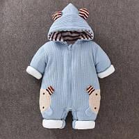 Детский мягкий утеплённый демисезонный комбинезон с капюшоном   (рост 66 см)