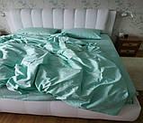 Комплект постельного  белья Страйп Сатин Серо - синий, фото 2