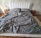 Комплект постельного  белья Страйп Сатин Серо - синий, фото 4