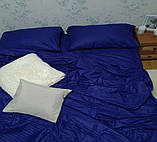 Комплект постельного  белья Страйп Сатин Серо - синий, фото 6