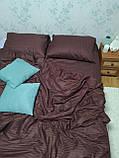 Комплект постельного  белья Страйп Сатин Серо - синий, фото 9