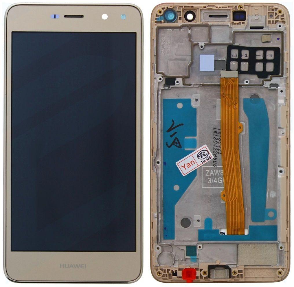 Дисплей (екран) для телефону Huawei Y5 2017 MYA-L02, MYA-L22, Y5 III MYA-U29 + Touchscreen with frame Gold