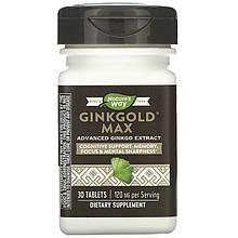 "Гинкго Билоба для когнитивной поддержки Nature's Way ""Ginkgold Max"" двойная концентрация, 120 мг (30 таблеток)"