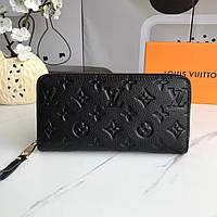 Женский черный кожаный кошелек Louis Vuitton LV в наличии
