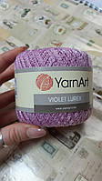 Нитки ирисовые для вязания YarnArt Violet lurex. 50 г. 270 м. Цвет - фиолетовый. Хлопок и люрекс