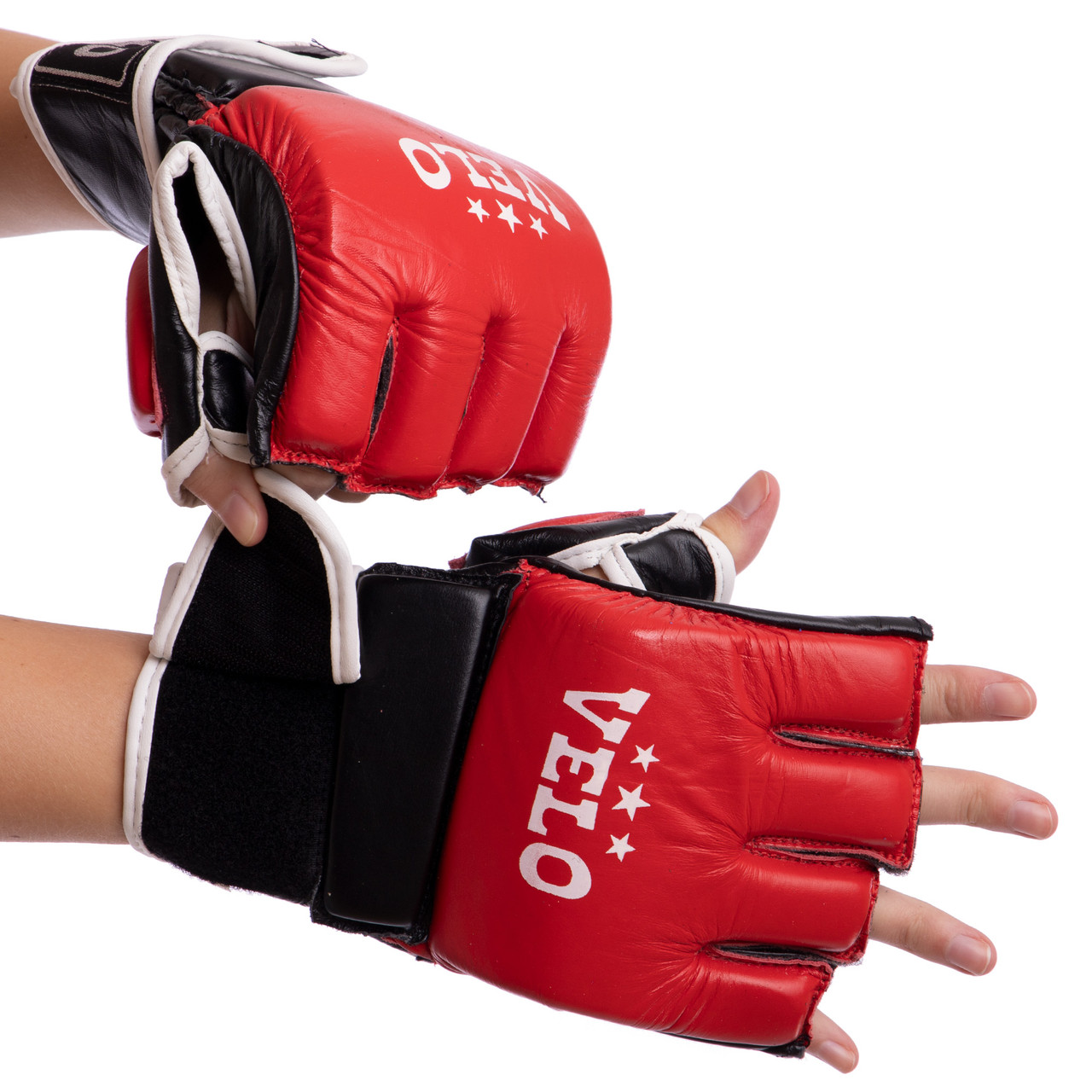 Перчатки для смешанных единоборств MMA кожаные VELO (р-р S-XL, цвета в ассортименте)