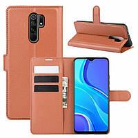 Чехол Fiji Luxury для Xiaomi Redmi 9 книжка коричневый