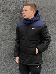 """Зимовий комплект """"Euro"""" синьо-чорна + штани утеплені. Барсетка і рукавички в подарунок!"""