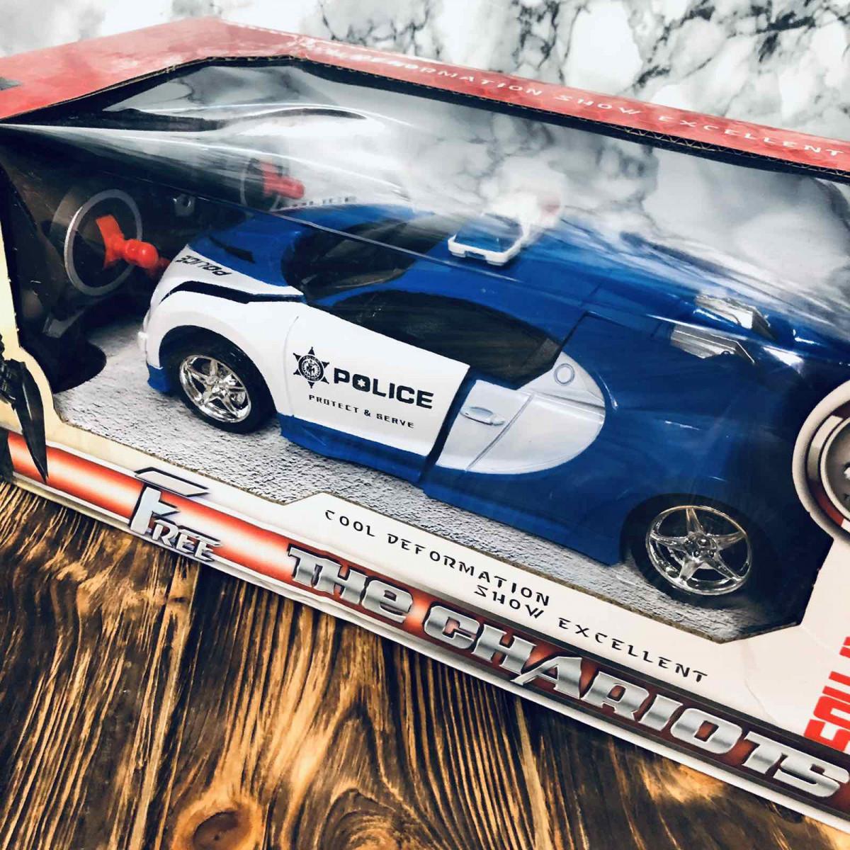 Машинка Трансформер Bugatti Robot Car с пультом Size 118 Police