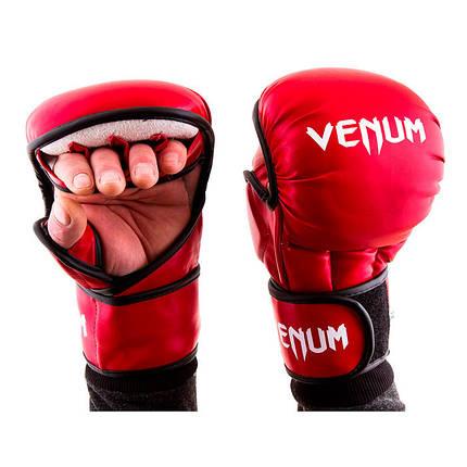 Перчатки для единоборств красные Venum MMA, размер L, фото 2