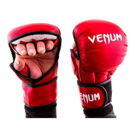 Перчатки для единоборств красные Venum MMA, размер XL, фото 2