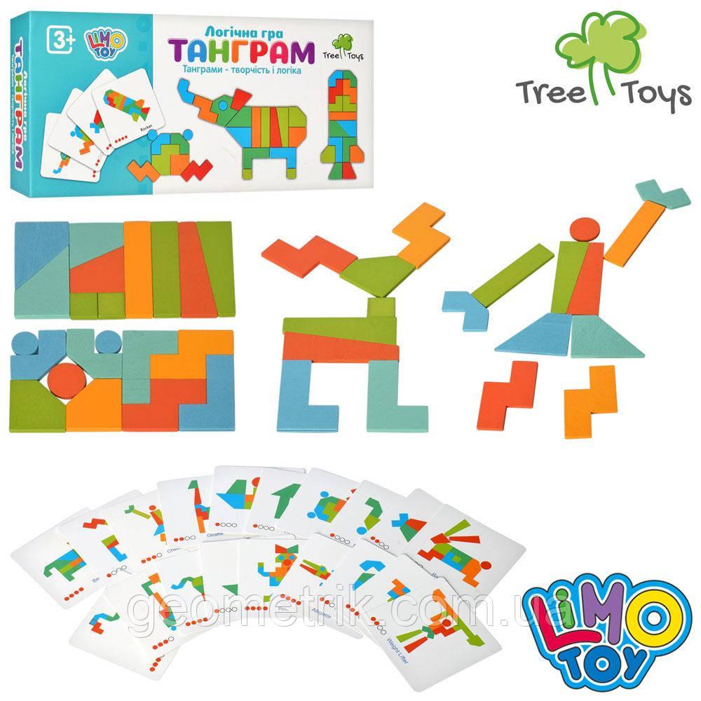 Деревянная игрушка Танграм арт. MD 2447 фигурки 21 шт., карточки 20 шт., кор., 23,5-11-4 см. (Limo T