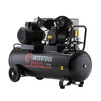 Компрессор 100 л 4 HP 3 кВт 220 В 8 атм 500 л/мин 2 цилиндра INTERTOOL PT-0014