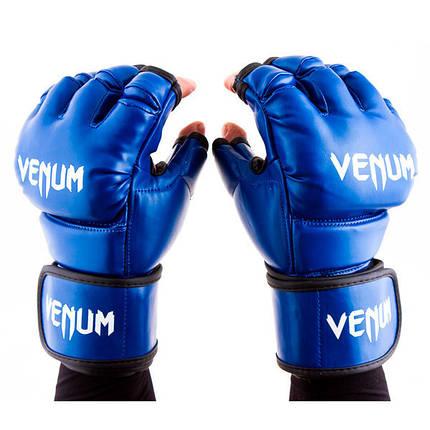 Перчатки единоборств синие Venum MMA, DX364, размер L, фото 2