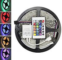 Светодиодная лента LED 5050 RGB комплект 5 метров с пультом, разноцветная