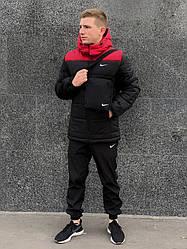 """Зимовий чоловічий комплект """"Euro"""" червоно-чорна + штани President. Барсетка у подарунок!"""