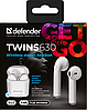 Гарнитура Defender Twins 630 TWS Bluetooth, White (63630) (6514120), фото 6