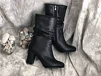 Демисезонные женские кожаные сапоги 8362 ч/к размеры 37,38,39,40, фото 1
