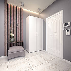 Шкаф для одежды распашной 2 двери, платяной с двумя полками и штангой S-9