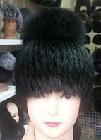 Меховая шапка из норки на вязанной  основе с бубоном