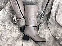 Кожаные женские сапоги очень стильная модель Salina 6565 беж размеры 37,38,40, фото 1