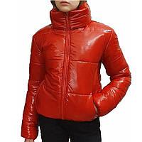 Дутая лаковая блестящая куртка с капюшоном осень/зима. Размеры 42, 44, 46