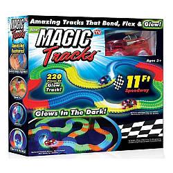 Гоночний трек Світиться дорога Magic Tracks 220 деталей Меджик трек машинка траса конструктор