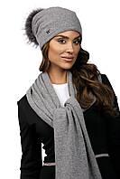 Модна жіноча шапка з хутряною помпоном в 2х кольорах DOTA