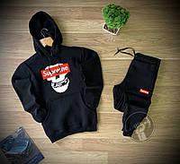 Спортивный костюм черный утепленный с капюшоном Supreme Суприм (РЕПЛИКА)
