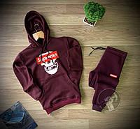 Бордовый теплы мужской спортивный костюм с капюшоном Supreme Суприм (РЕПЛИКА)