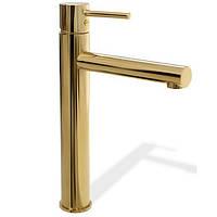 Золотий змішувач для умивальника LUNGO GOLD HIGH Високий, фото 1