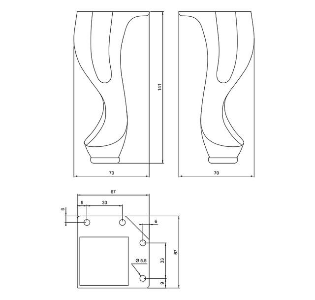 Резная металлическая мебельная ножка
