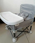 ОПТ Детский складной стул для кормления Baby seat Pro тканевый стул с алюминиевыми ножками серый, фото 2