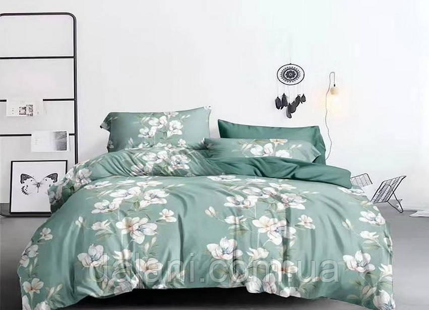 Полуторный комплект постельного белья из сатина с цветами